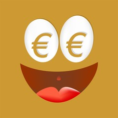Gold happy face with gold euro symbol in the eyes with shadow, laughing with an open mouth with red tongue on golden background