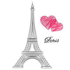 sketch of Paris, Eiffel Tower  with hearts. Vector illustration