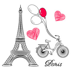 sketch of Paris, Eiffel Tower and bike with air balloons. Vector illustration