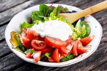 Fresh Vegetables Salad with Sour Cream