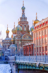 Church of the Saviour on Spilled Blood in St. Petersburg in a co