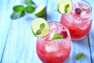 Raspberry lemonade with lime.