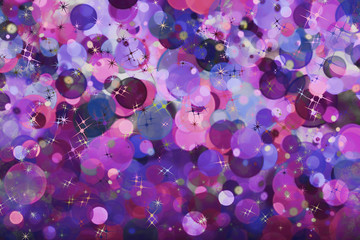 Purple bubbles and stars abstract holiday background.