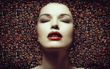 Coffee beans. Girl in the coffee beans