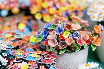 Colorful ceramic flowers sold on Easter market in Vilnius