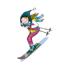 Girl skiing down the hill, hand drawn vector illustration