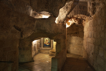 Cave of Milk Grotto church in Bethlehem. Palestinian territories. Israel