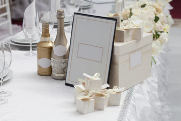 Wedding boxs and champagne