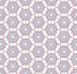 Winter blue pink star pattern