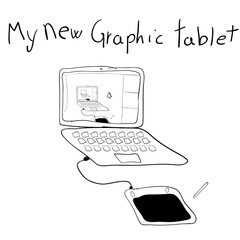 Sketch of a graphic drawing tablet connected to a computer, and a black writing. hand drawn vector illustration