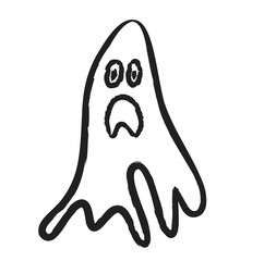 doodle ghost, Halloween, illustration icon