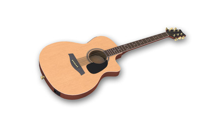 Acoustic-electric guitar, music instrument isolated on white background