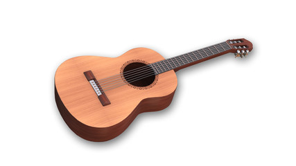 Classical acoustic guitar, music instrument isolated on white background