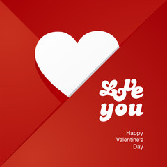 Love heart white letters red envelope