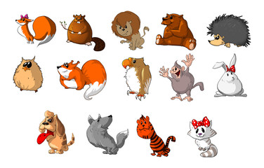 Collection of cute animal illustrations.