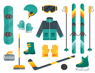 Winter sports equipment set: ski, curling, skates, clothes, helm