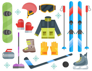 Winter sports equipment set: ski, curling, skates, clothes, helm