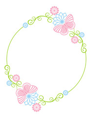 Round color frame with butterflies