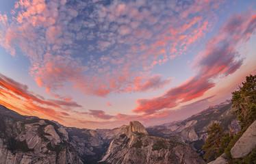 Fisheye lens photo of sunset above Half Dome, Yosemite National Park. Wall mural