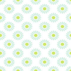 Daisy chamomile vector seamless pattern. Light baby blue camomile floral background for wrapping, textile or linen.