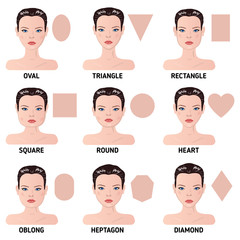 Set of nine different woman's face shapes.