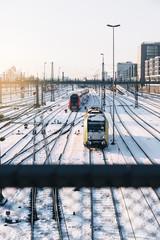 Train in the Winter Landscape of Munich.
