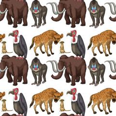 Seamless many type of wild animals