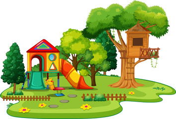 Scene of park with treehouse and slides
