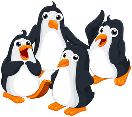 Four penguins with happy face