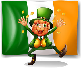Leprechaun with golden coins by the flag