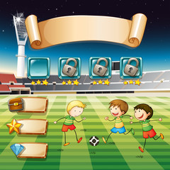 Game template with children playing soccer