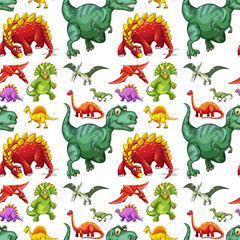 Seamless different kind of dinosaurs