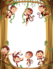 Border design with monkeys climbing the tree