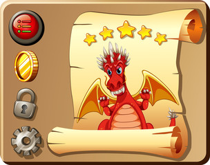 Game template with red dragon background