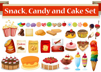 Many kind of snack and candy