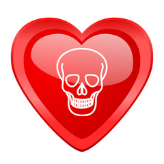 skull red heart valentine glossy web icon