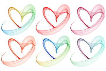 colorful heart brush stroke collection on isolated white backgro