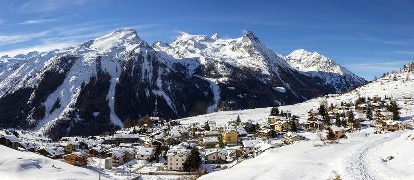 Winter landscape. Alpine village of Gimillan (1800 meters of altitude) in Aosta valley, Cogne,Italy