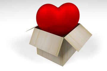 big red heart flying out of the box