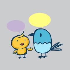 Cartoon chicken and friend