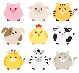 Vector illustration of fat animals including pig, sheep, tiger, dog, chicken, cow, giraffe, zebra and cat.