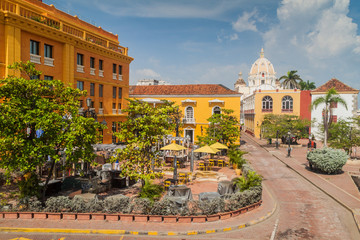 Plaza Santa Teresa square in the center of Cartagena de Indias, Colombia