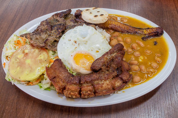 Bandeja Paisa. Typical meal from Colombia.