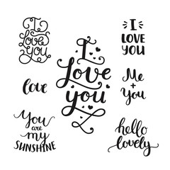 Vector photo overlays, handdrawn lettering collection