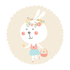 Vector easter bunny with egg and basket