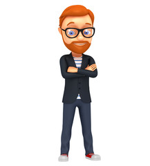 3d character businessman isolated on a white background. The man