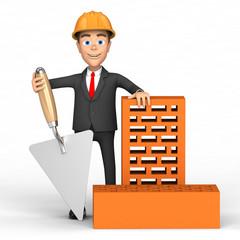 man construction with bricks