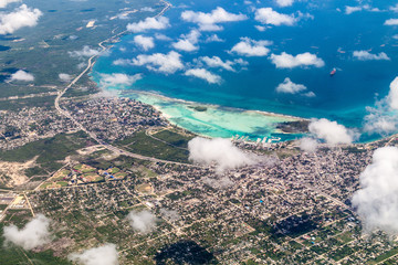 Aerial view of Boca Chica town in Dominican Republic