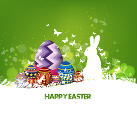Rabbit Easter background and egg in grass