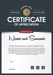 certificate template with clean and modern pattern,Qualification certificate blank template with elegant,Vector illustration